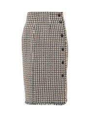 Rebecca Taylor Houndstooth Tweed Cotton Blend Skirt Pink Multi
