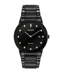 Citizen Mens Axiom Eco Drive Black Plated Stainless Steel Bracelet Watch
