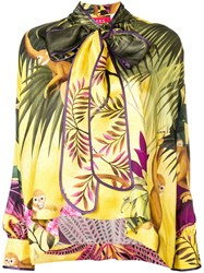 F.R.S For Restless Sleepers Tropical Print Drape Blouse Yellow