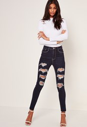 Missguided Blue High Waisted Extreme Ripped Jeans