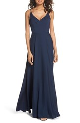 Hayley Paige Occasions Cutout Crepe A Line Gown Navy