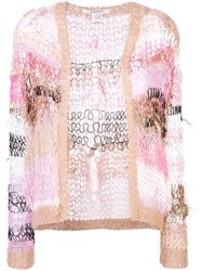 Rodarte Distressed Knit Jacket Pink