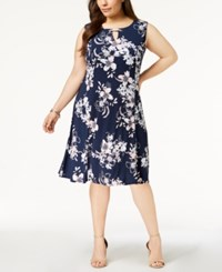 Jm Collection Plus Size Keyhole Neck Dress Created For Macy's Blue Georgetown Garden