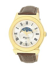 Salvatore Ferragamo Leather Strap And Stainless Steel Analog Watch Brown