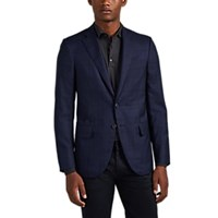 Isaia Sanita Plaid Wool Two Button Sportcoat Navy
