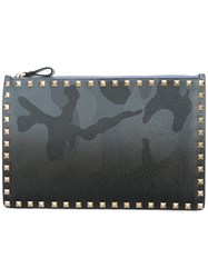 Valentino Camouflage Studded Clutch Men Leather Polyamide One Size Grey