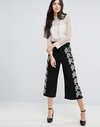 Endless Rose Wide Leg Cropped Trouser With Lace Detail Black