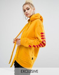 Adolescent Clothing Oversized Hoodie With Menace Sleeve Yellow