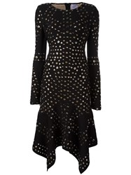 Herve Leger Eyelet Handkerchief Dress Black