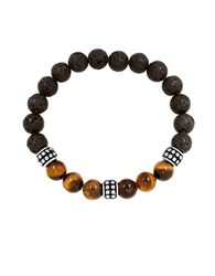 Lord And Taylor Stainless Steel Lava Tiger Eye Bead Bracelet