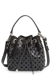 Milly Perforated Leather Bucket Bag Black