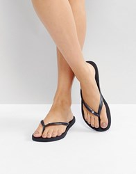 Havaianas Slim Black Metal Logo And Crystal Flip Flops