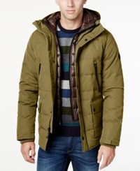 Michael Kors Men's Hooded Puffer Coat With Attached Bib Taupe Black
