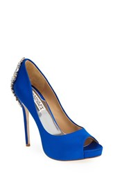 Badgley Mischka Women's 'Kiara' Crystal Back Open Toe Pump Sapphire Satin