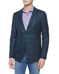 Kiton Cashmere Linen Plaid Two Button Jacket Green Purple