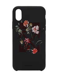 Off White Flower Printed Iphone X Cover Black