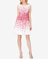 Tahari By Arthur S. Levine Asl Petite Floral Print Fit And Flare Dress Magenta White