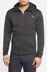 The North Face Men's 'Canyonlands' Full Zip Hoodie Asphalt Grey Heather Tnf Red