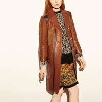 Coach Combo Leather Coat Terracotta