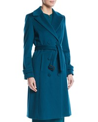 Escada Double Breasted Self Belt Wool Coat W Piping Teal