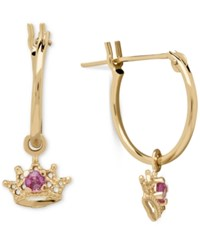 Macy's Pink Sapphire Accent Dangle Crown Earrings In 14K Gold