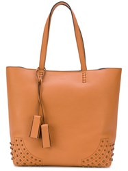 Tod's Enamel Stud Tote Bag Women Leather One Size Yellow Orange