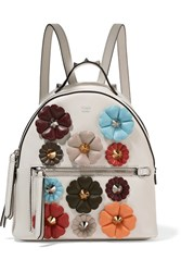 Fendi Appliqued Leather Backpack White
