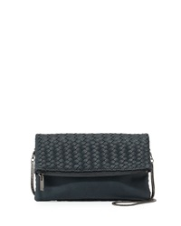 Neiman Marcus Woven Fold Over Clutch Bag Teal