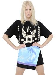 Fausto Puglisi Oversized Gladiator Print Cotton T Shirt Black Beige