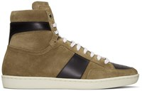 Saint Laurent Brown Suede Sl 10H Court Classic High Top Sneakers