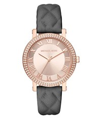 Michael Kors Norie Rose Goldtone Stainless Steel Double Pave Bezel Quilted Leather Strap Watch Grey