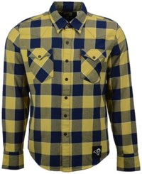 Levi's Men's Los Angeles Rams Plaid Barstow Western Long Sleeve Shirt Blue
