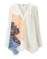 Jigsaw Floating Poppy Trapeze Blouse Cream