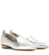 Nicholas Kirkwood Botalatto Metallic Leather Loafers Silver