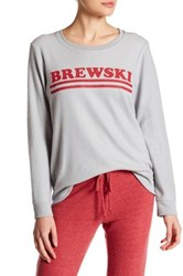 Chaser Graphic Crew Neck Long Sleeve Sweater Gray