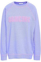 Sandro Flocked French Cotton Blend Terry Sweatshirt Lavender