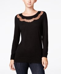 Maison Jules Illusion Sweater Only At Macy's Deep Black