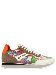 Etro 20Mm Paisley Satin Running Sneakers White Multi