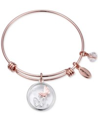 Unwritten Butterfly Charm Adjustable Bangle Bracelet In Rose Gold Tone Stainless Steel