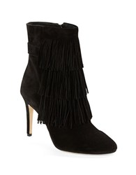 Via Spiga Vesta Suede Fringe Booties Black