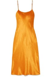 Vince Hammered Satin Midi Dress Orange