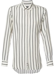 Ann Demeulemeester Concealed Placket Striped Shirt Men Cotton Acetate Xl White