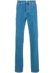 Kiton Denim Style Stretch Trousers Blue