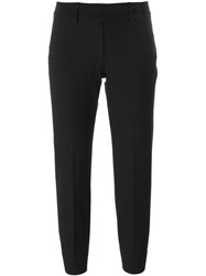 Piazza Sempione Back Slit Cropped Trousers Black