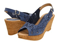 Spring Step Abigail Blue Nubuck Women's Wedge Shoes