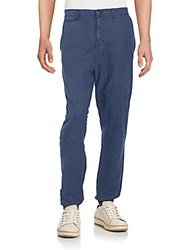 Madison Supply Woven Linen And Cotton Jogger Pants Navy