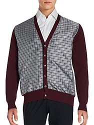 Brioni Check Printed Cotton Blend Long Sleeve Cardigan Burgundy
