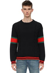 Gucci Wool Cable Knit Sweater W Web Detail Black