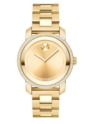 Movado Bold Diamond And Goldtone Ip Stainless Steel Bracelet Watch 36Mm