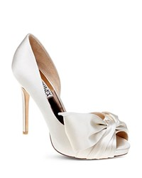 Badgley Mischka Niara High Heel Peep Toe Platform Pumps Ivory